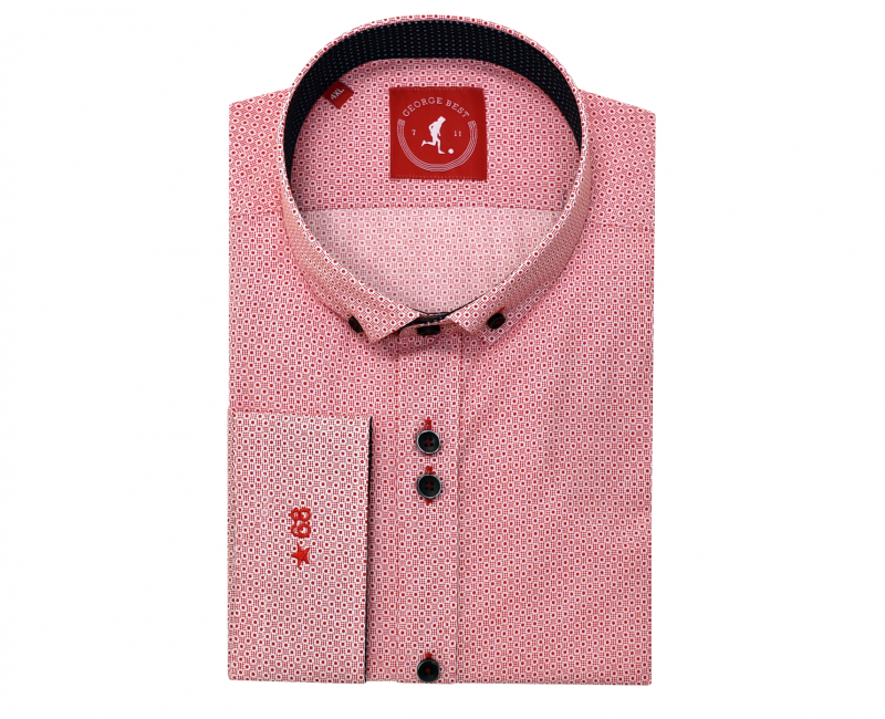 Tailored Fit Red Print Shirt With Button Down Collar