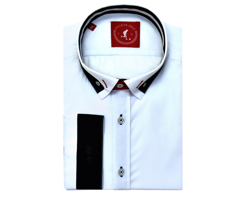 Tailored Fit White Shirt With Contrasting Collar