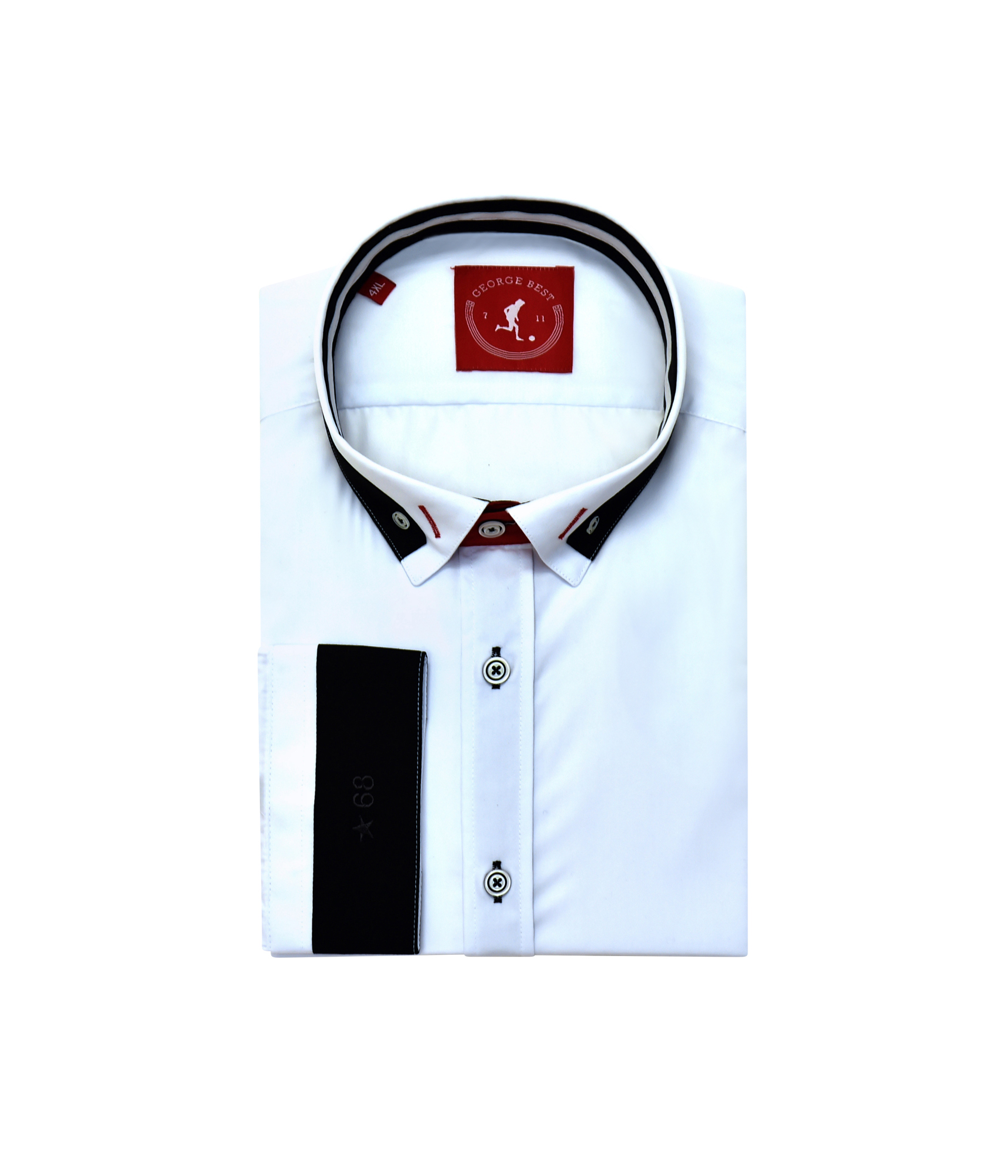 36f72233 Tailored Fit White Shirt With Contrasting Collar | George Best Clothing