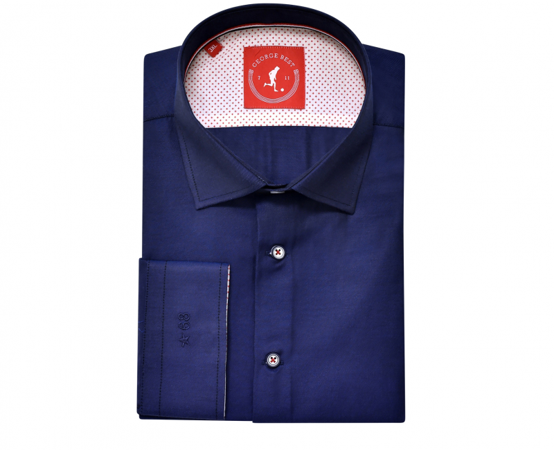 Tailored Fit Navy Cotton Shirt With Button Down Collar