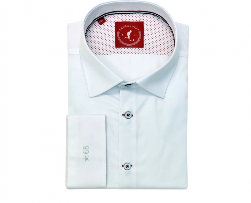 Tailored Fit White Cotton Shirt With Button Down Collar