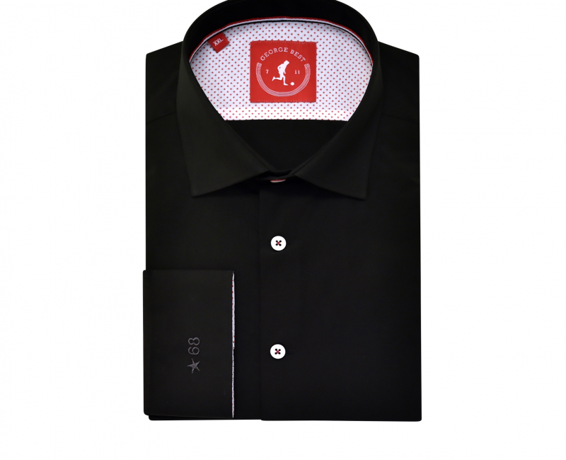 Tailored Fit Black Shirt With Button Down Collar