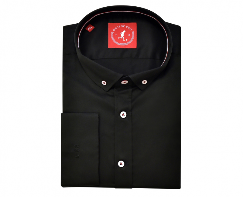 Tailored Fit Black Cotton Shirt With Button Down Collar