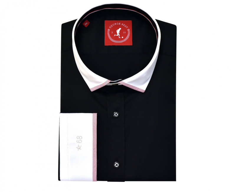 Tailored Fit Black Cotton Shirt With Contrasting Collar And Cuff