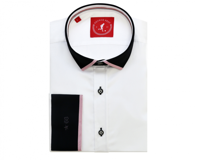 Tailored Fit White Cotton Shirt With Contrasting Collar And Cuff