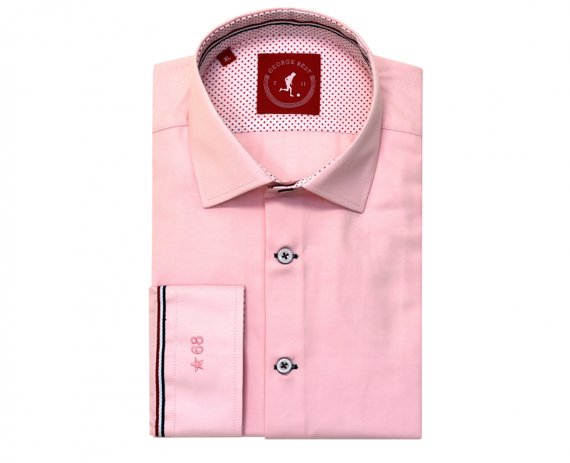 United Tailored Fit Cotton Pink Shirt
