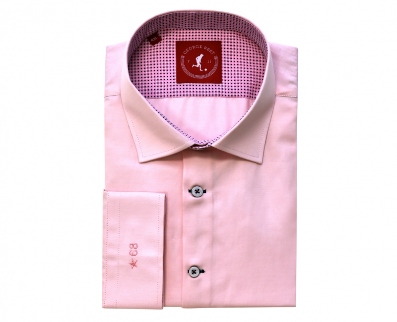 Tailored Fit Pink Shirt With Cross Print