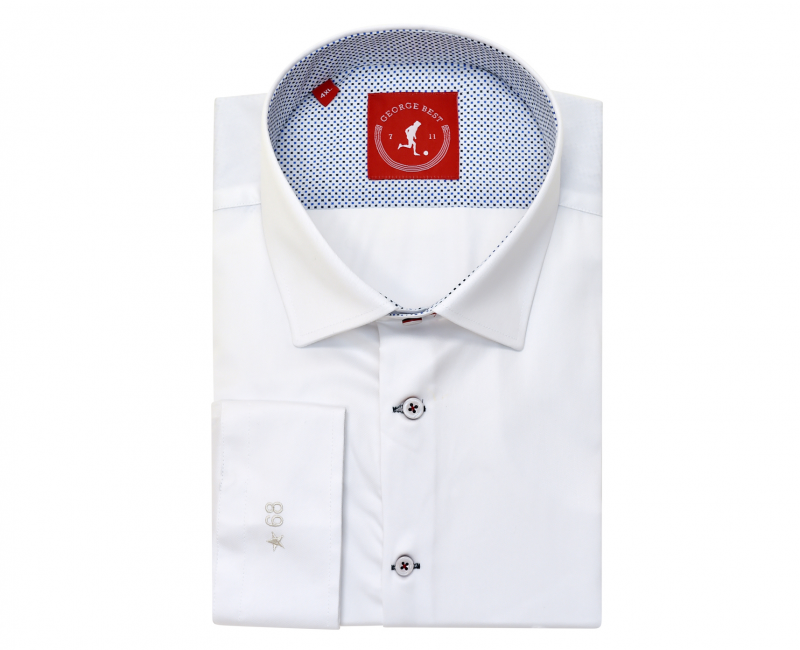 Tailored Fit White Shirt With Cross Print