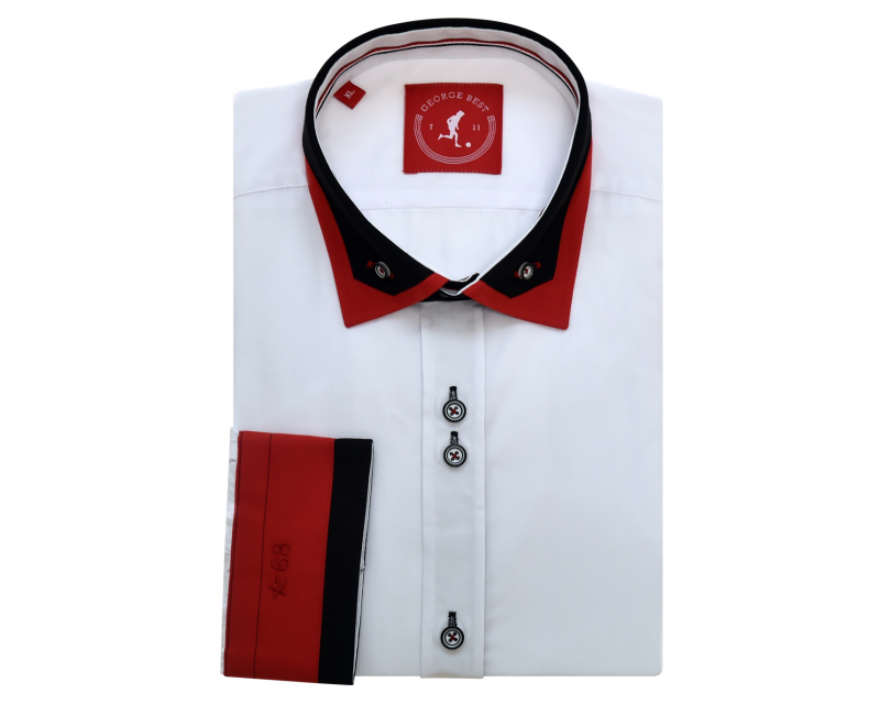 United Tailored Fit White Shirt With Button Down Double Collar