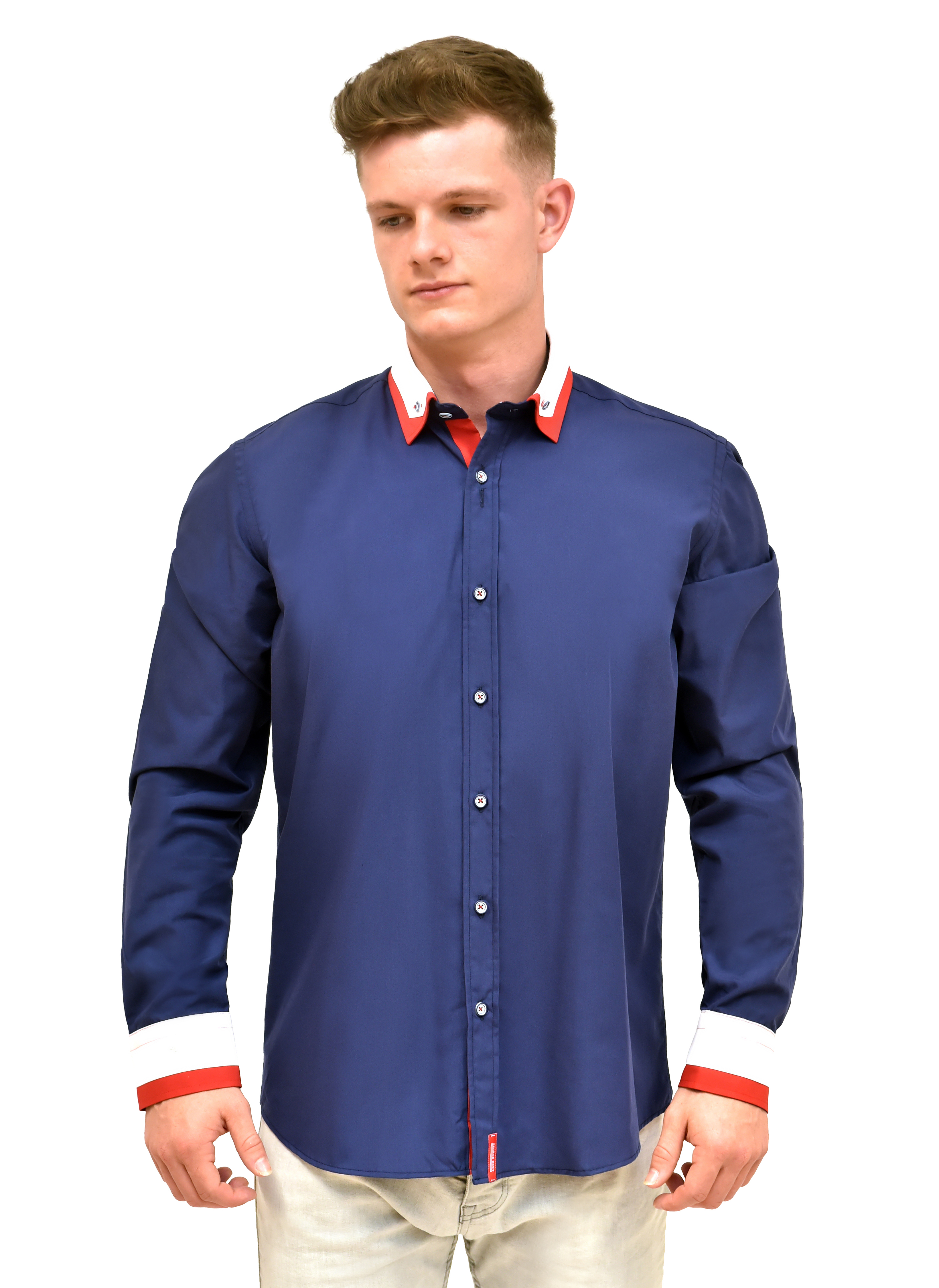 United tailored fit navy shirt with button down double for Best online tailored shirts