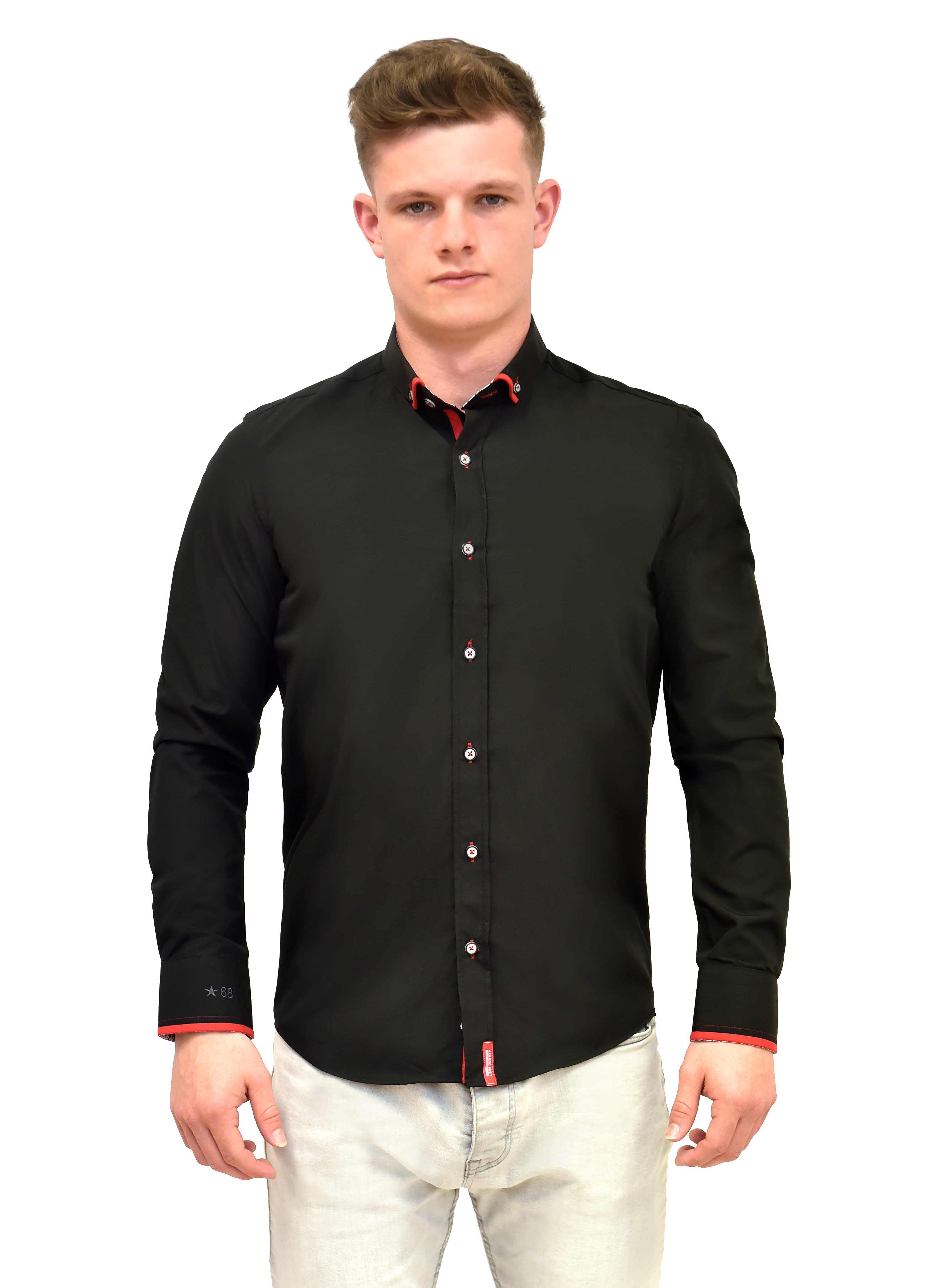 Tailored fit black shirt with red trim button down collar for Best online tailored shirts