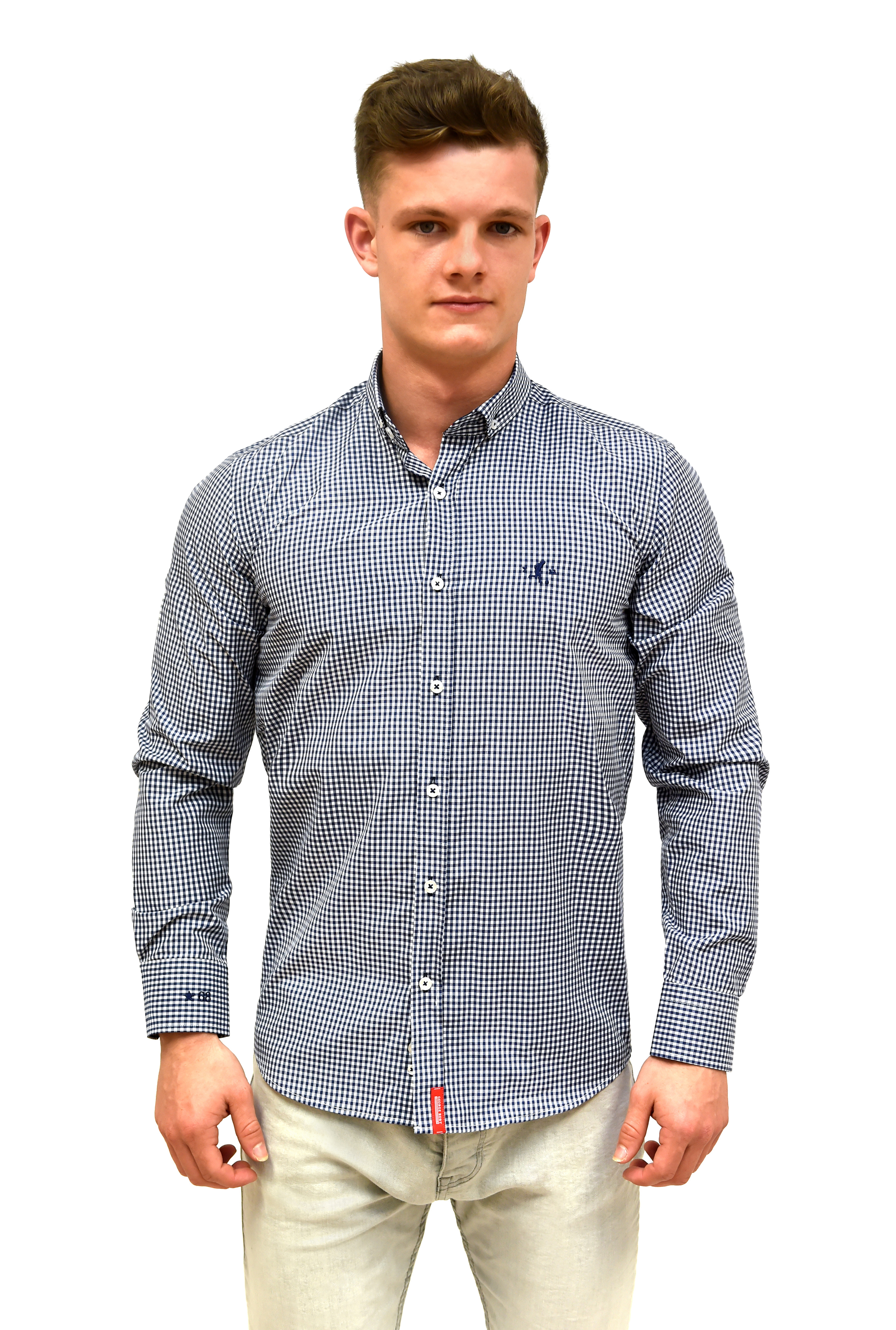 best tailored fit navy gingham check shirt with button