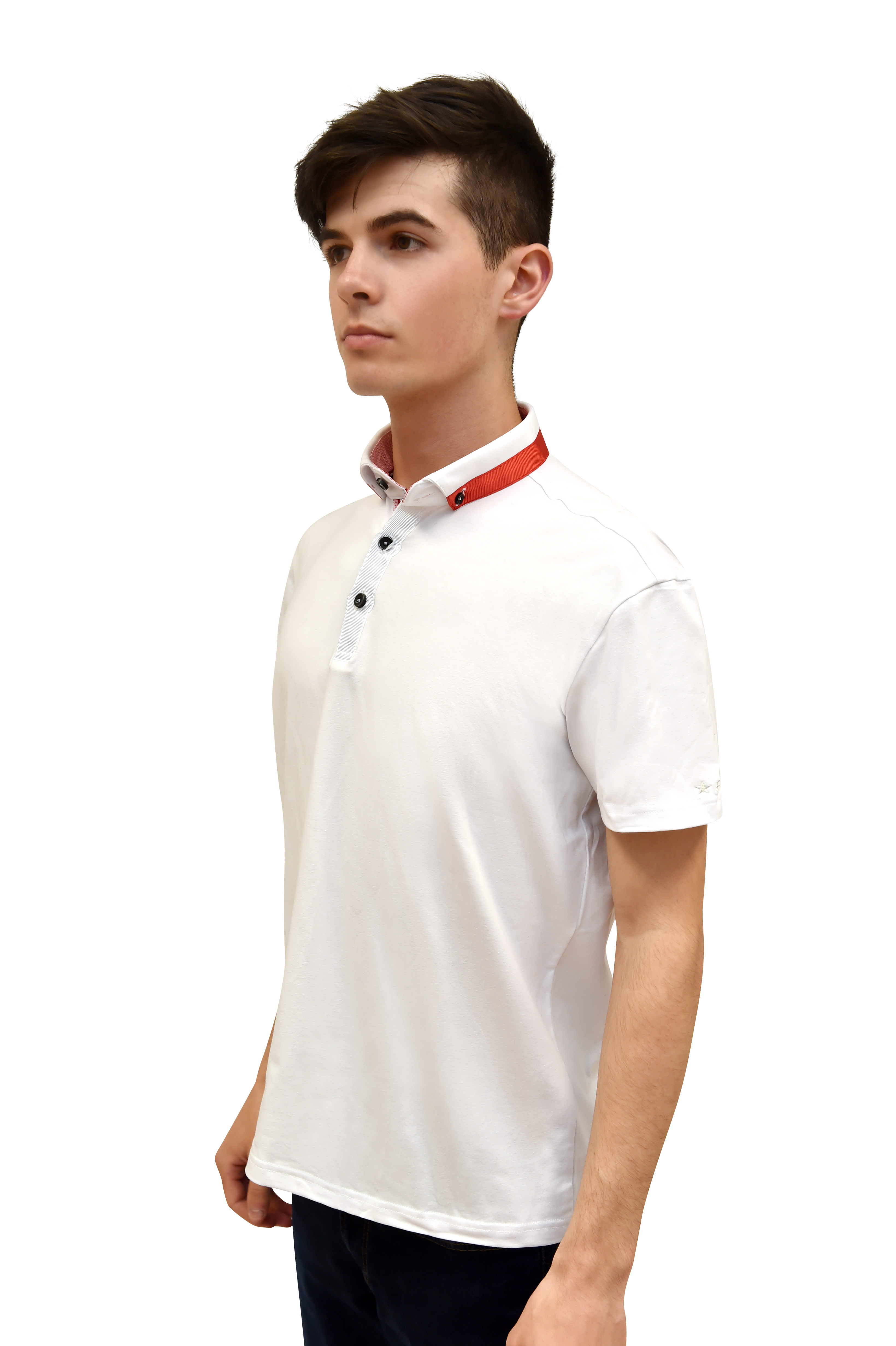 1aebae40 White Polo Shirt With Contrasting Collar - George Best Clothing