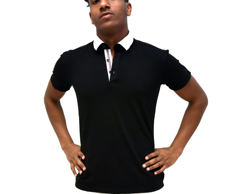 Black Polo Shirt With White Collar
