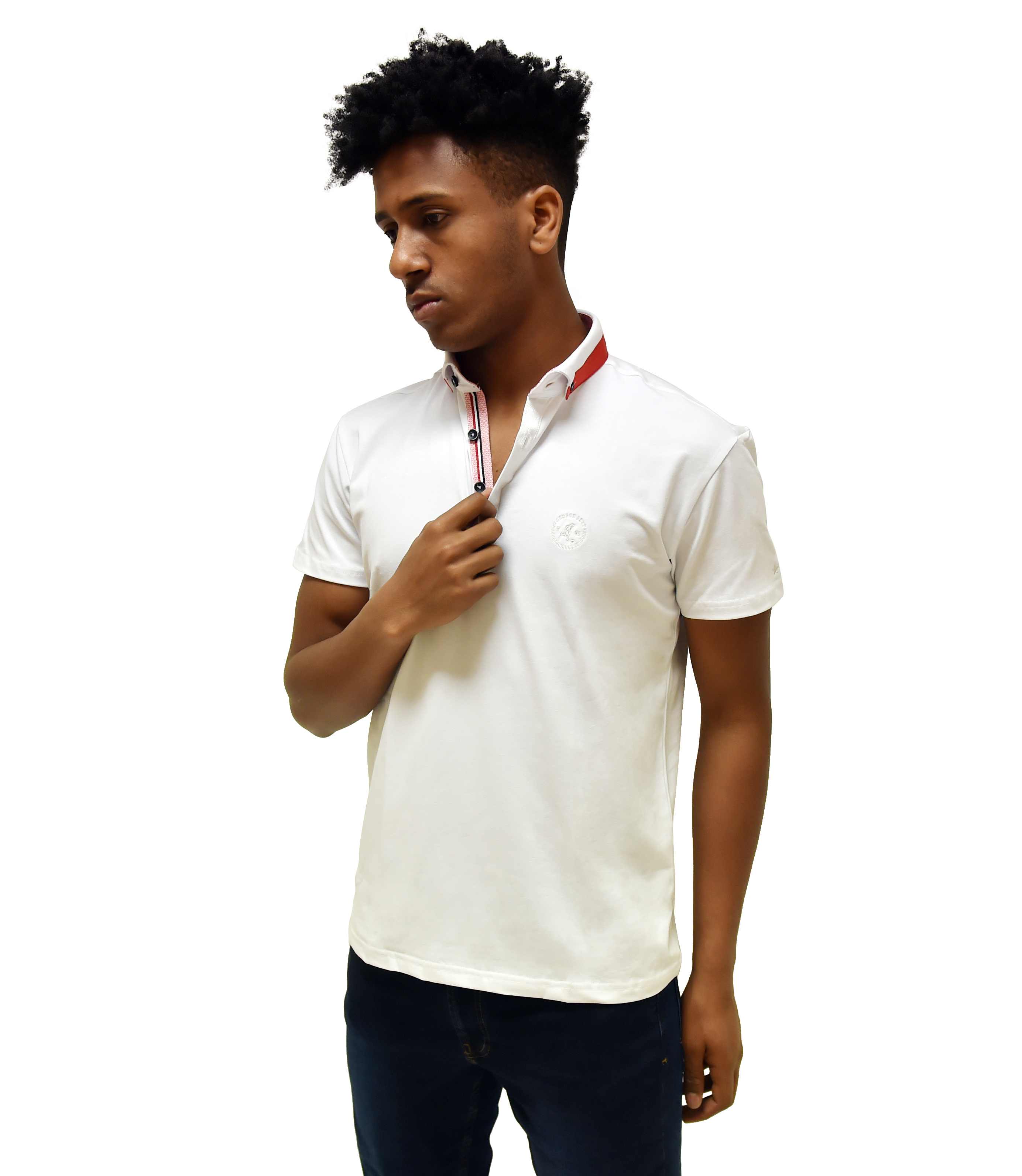 0dcfe074 Best White Polo Shirt With Contrasting Collar - George Best Clothing