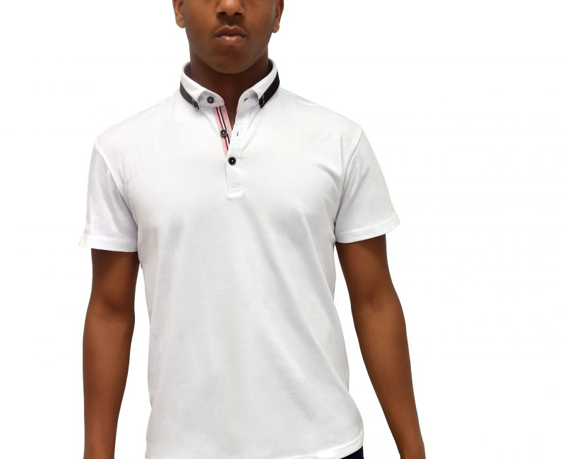 White Polo Shirt With Contrasting Collar