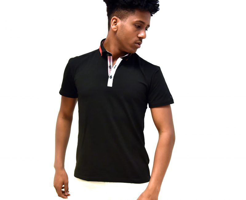 Black Polo Shirt With Contrasting Collar