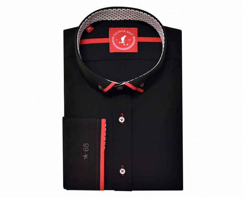 Tailored Fit Black Shirt With Red Trim Button Down Collar