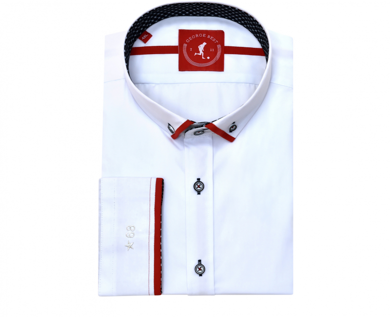 Tailored Fit White Shirt With Red Trim Button Down Collar