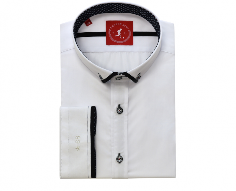 Tailored Fit White Shirt With Black Trim Button Down Collar