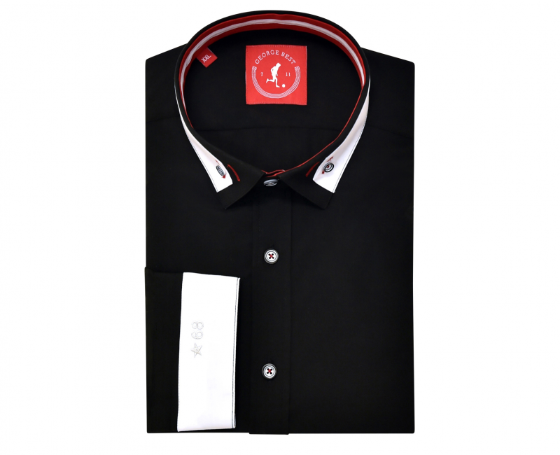 Tailored Fit Black Shirt With Contrasting Collar