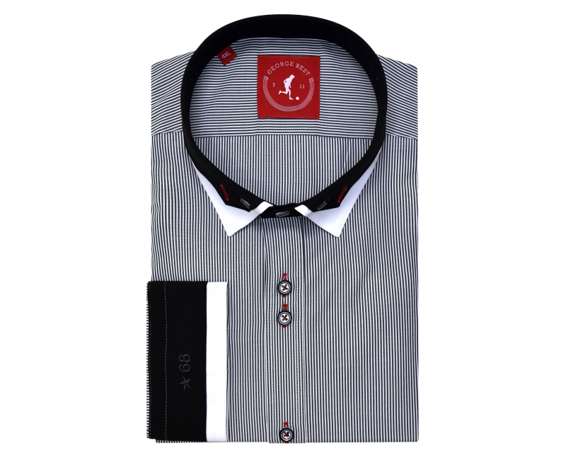Tailored Fit Grey Stripe Shirt With Button Down Contrasting Collar