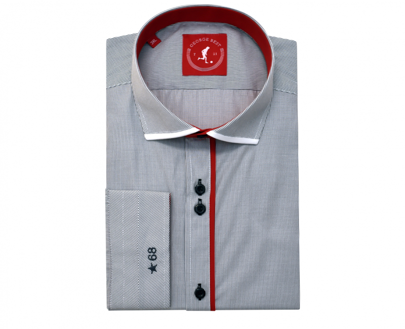 Tailored Fit Grey Stripe Shirt With Red Trim