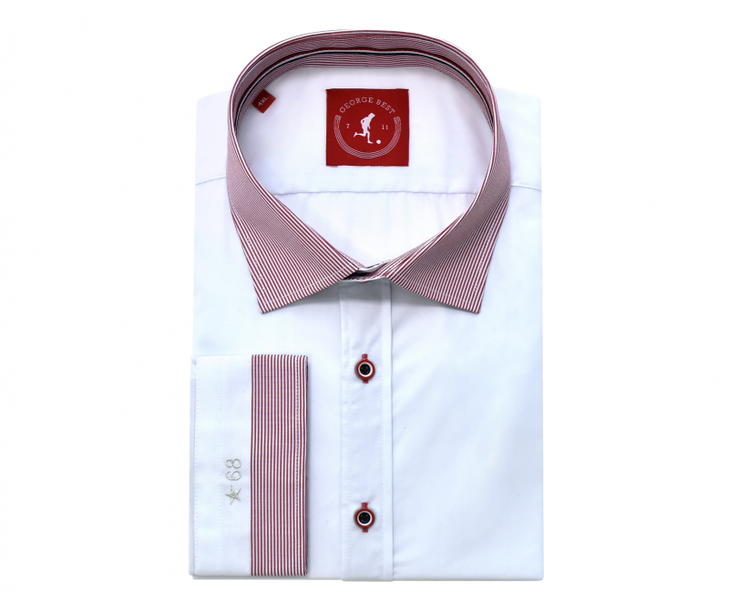 Tailored Fit White Shirt With Red Striped Button Down Collar