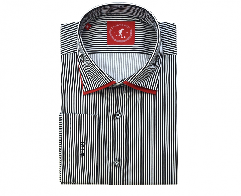 Tailored Fit Black Striped Shirt With Contrasting Collar
