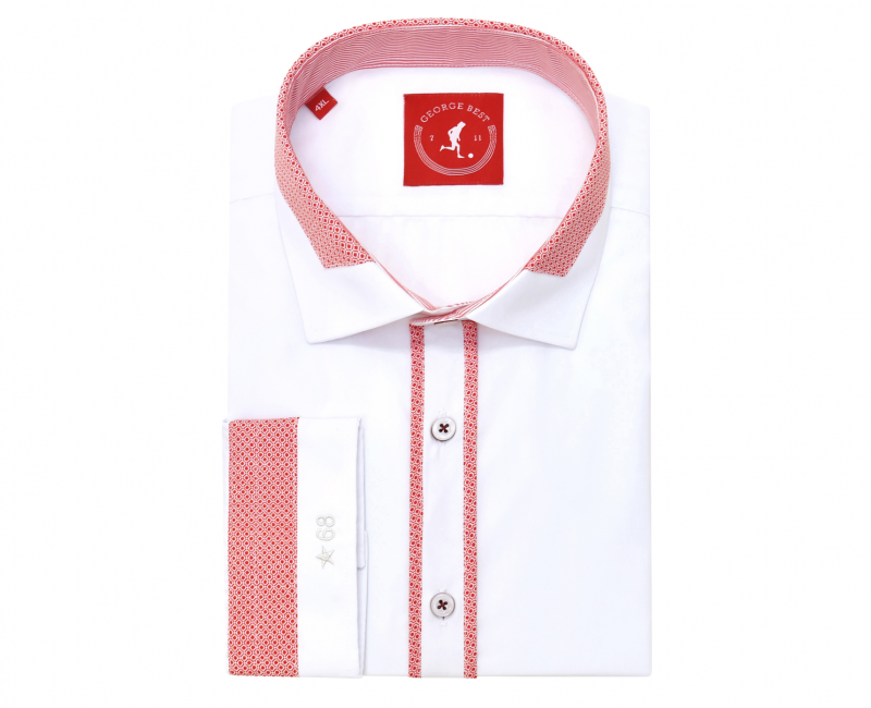Tailored Fit White Shirt With Red Print Trim