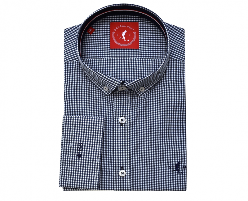 Best Tailored Fit Navy Gingham Check Shirt With Button Down Collar