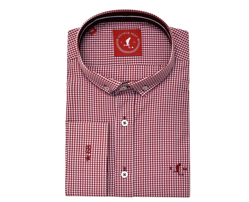 Best Tailored Fit Burgundy Gingham Check Shirt With Button Down Collar
