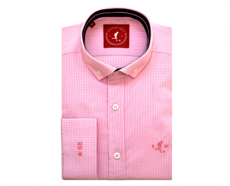 Best Tailored Fit Pink Gingham Check Shirt With Button Down Collar