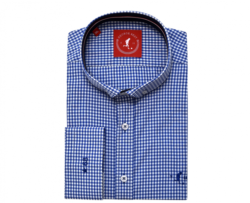 Best Tailored Fit Royal Blue Gingham Check Shirt With Button Down Collar