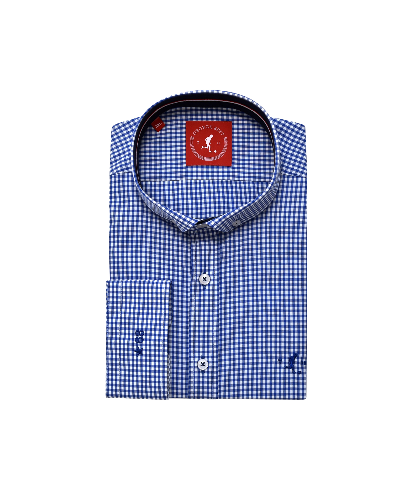 4f7f3cc61538 Best Tailored Fit Royal Blue Gingham Check Shirt With Button Down Collar - George  Best Clothing