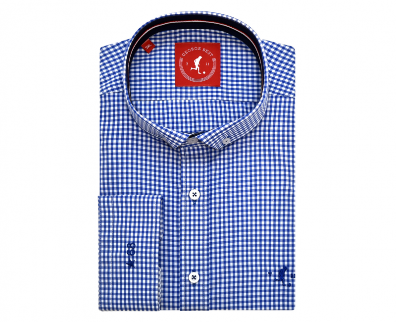 Best Tailored Fit Royal Blue Check Shirt With Button Down Collar